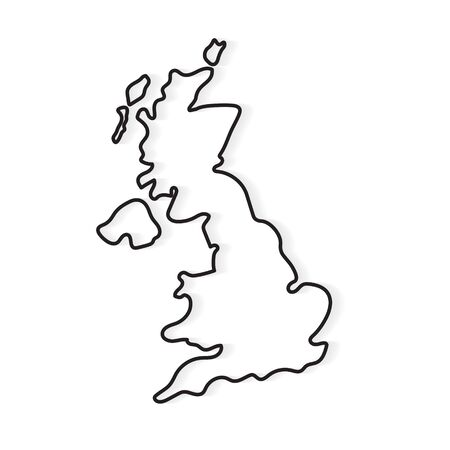 black outline of United Kingdom map- vector illustration