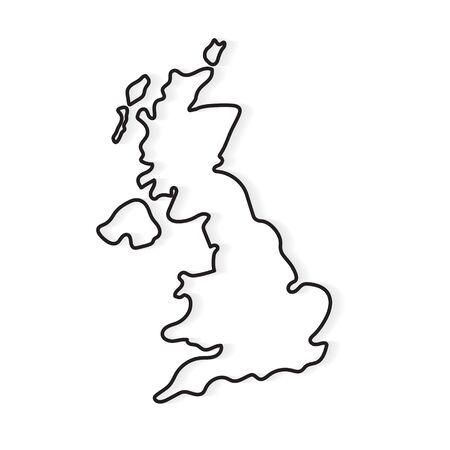 contorno negro del mapa de Reino Unido- ilustración vectorial