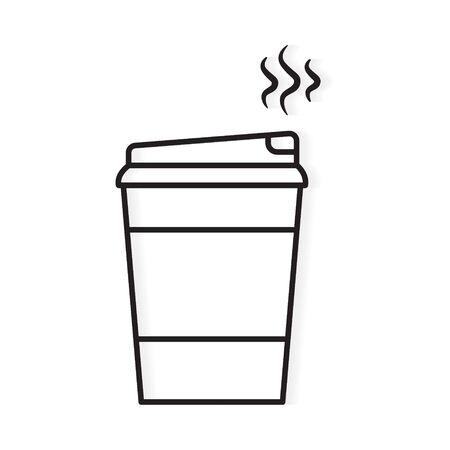 black outline of disposable, paper coffee cup icon- vector illustration