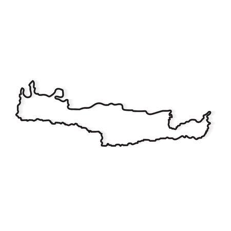 black outline of Crete island map- vector illustration Illustration