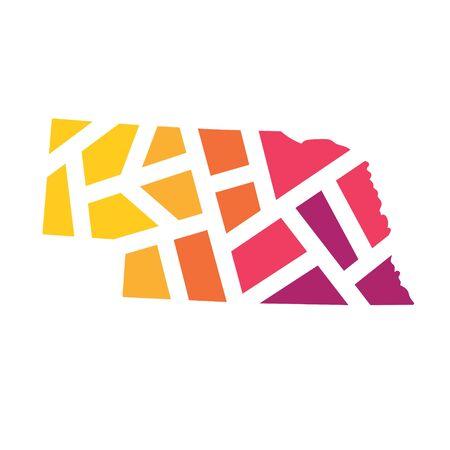 colorful geometric Nebraska map- vector illustration