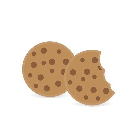 bitten chocolate cookies icon- vector illustration