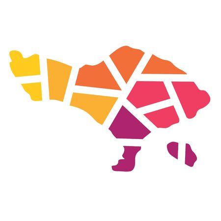 colorful geometric Bali map- vector illustration Illustration