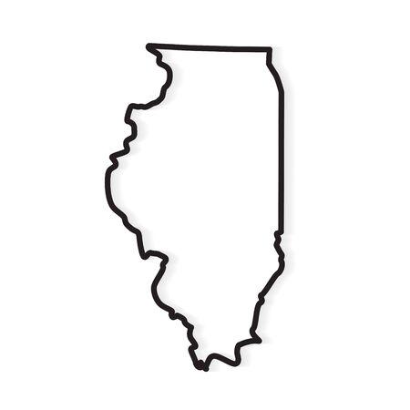 black outline of Illinois map- vector illustration