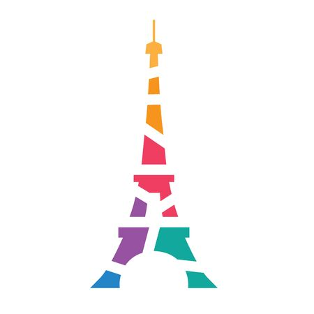 colorful geometric Eiffel tower Paris icon- vector illustration