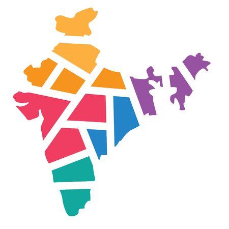 colorful geometric India map- vector illustration Illusztráció