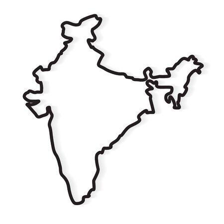 black abstract outline of India map- vector illustration Illusztráció