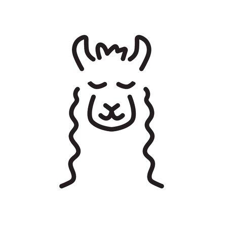 cute llama icon- vector illustration
