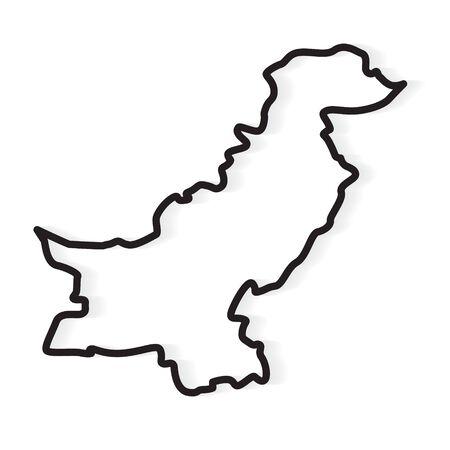black abstract outline of Pakistan map- vector illustration Illustration