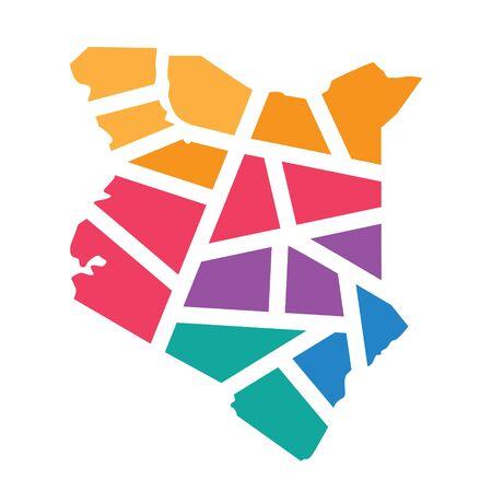 colorful geometric Kenya map- vector illustration