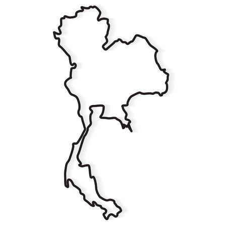 Contorno negro del mapa de Tailandia- ilustración vectorial
