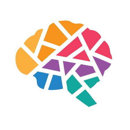 colorful geometric human brain icon - vector illustration