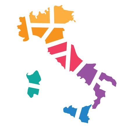 colorful geometric Italy map - vector illustration Illustration