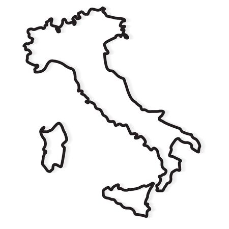 black abstract outline of Italy map - vector illustration Stock Illustratie