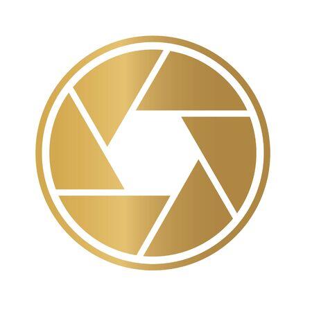 gold camera shutter icon- vector illustration