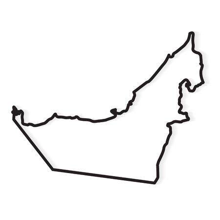 black abstract outline of United Arab Emirates map- vector illustration