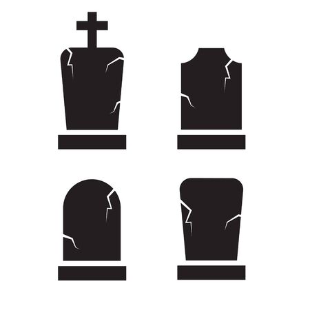 gset of old grave, tombstone icon- vector illustration