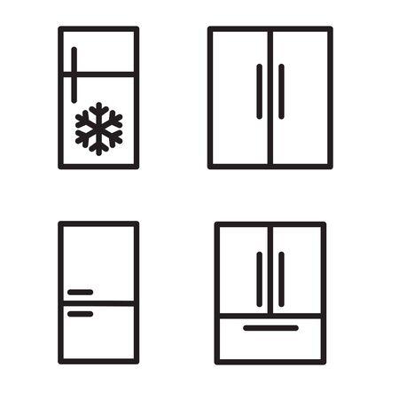 set of black fridge icon- vector illustration