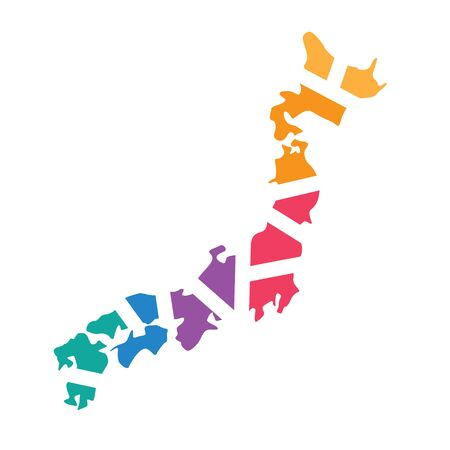 colorful geometric Japan map- vector illustration