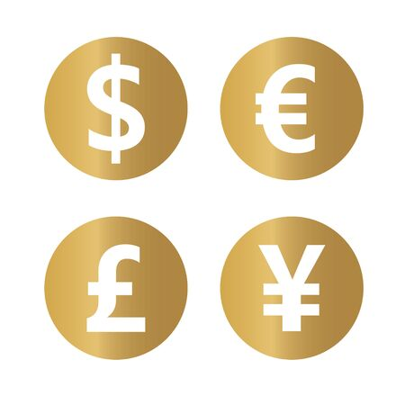 golden most popular currency symbols- vector illustration