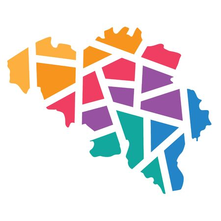 colorful geometric Belgium map- vector illustration