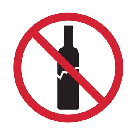 no glass allowed, broken wine bottle icon- vector illustration