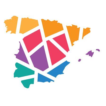 colorful geometric Spain map- vector illustration
