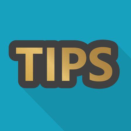golden tips word icon- vector illustration