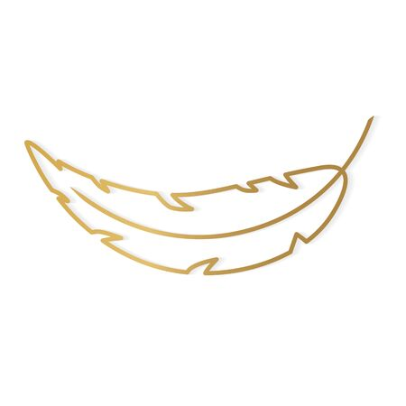 golden feather icon - vector illustration
