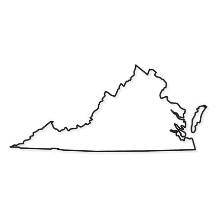 black outline of Virginia map - vector illustration