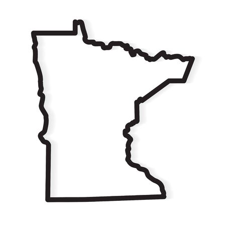 black outline of Minnesota map- vector illustration
