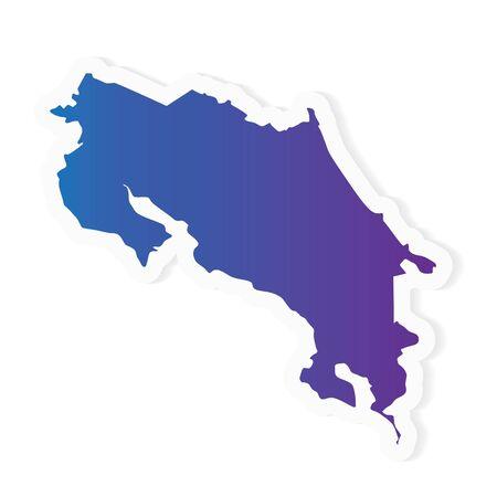 gradient Costa Rica map- vector illustration
