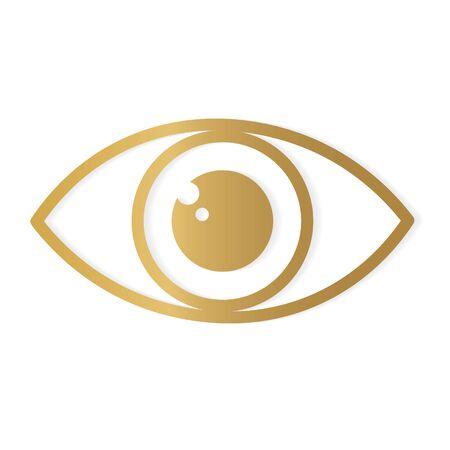 golden human eye icon- vector illustration