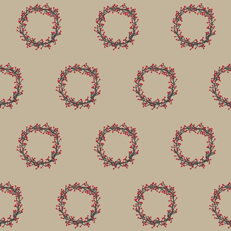 red berries wreath, christmast decorative plant pattern- vector illustration