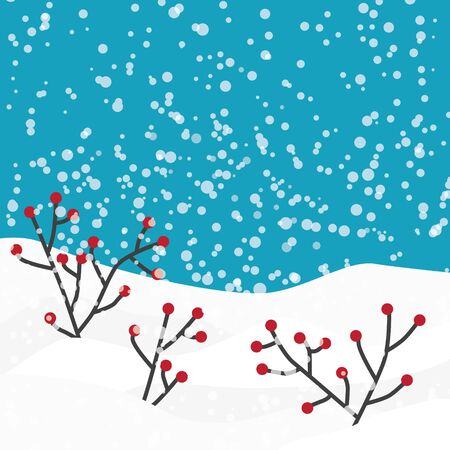 winter background, snow and red berries branches- vector illustration