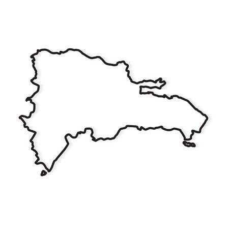schwarzer Umriss der Karte der Dominikanischen Republik - Vektorillustration Vektorgrafik