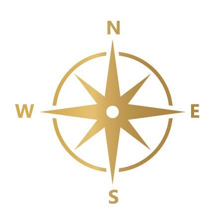 golden compass icon- vector illustration