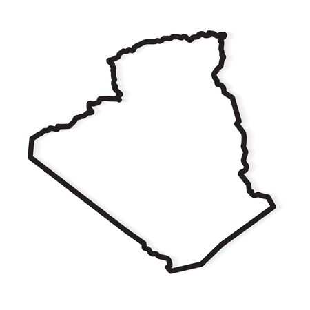 Contorno negro del mapa de Argelia- ilustración vectorial Ilustración de vector