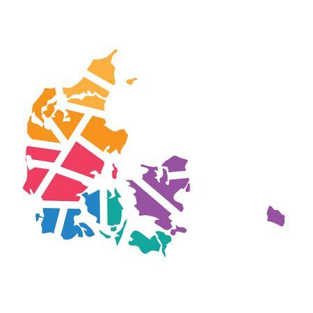 colorful geometric Denmark map- vector illustration Illustration