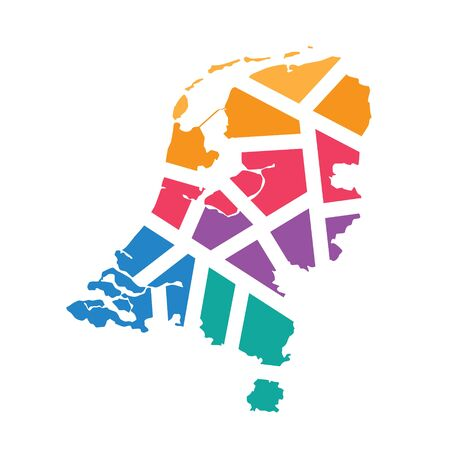 colorful geometric Netherlands map- vector illustration