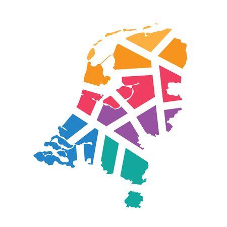 kleurrijke geometrische Nederland kaart-vector illustratie