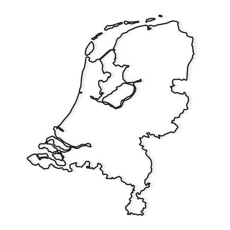 black outline of Netherlands map- vector illustration Vector Illustratie