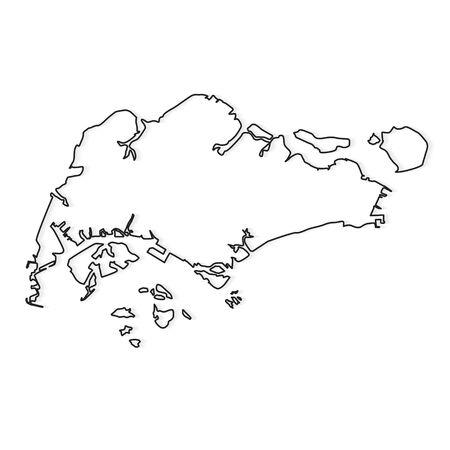 black outline of Singapore map- vector illustration