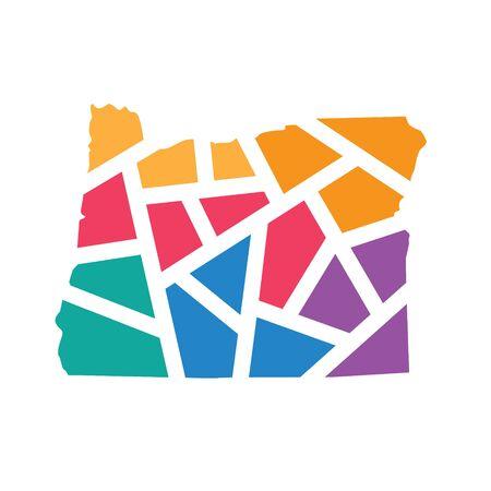 colorful geometric Oregon map- vector illustration