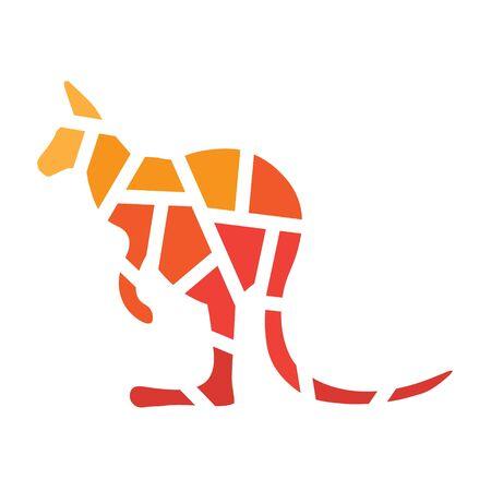 geometric kangaroo icon- vector illustration