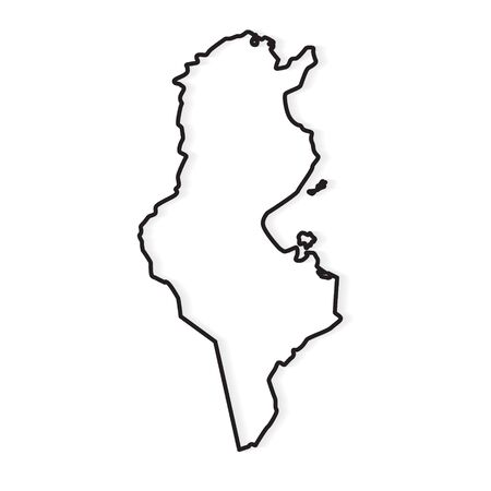 black outline of Tunisia map- vector illustration 矢量图像