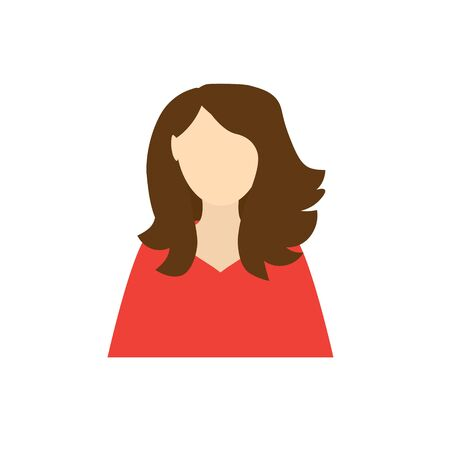 woman with lush hair icon- vector illustration