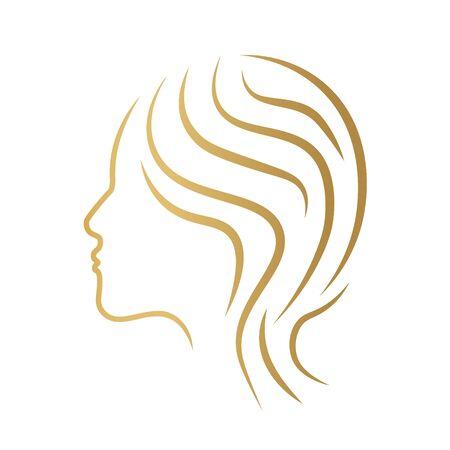 visage de femme dorée, beauté, icône de salon de coiffure- illustration vectorielle