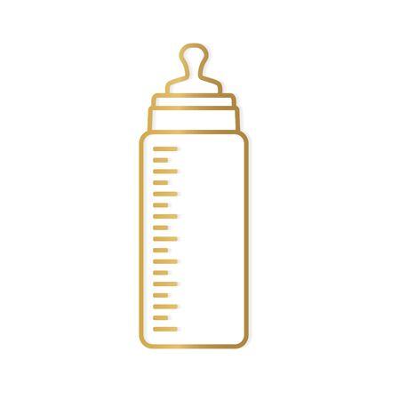golden baby milk bottle icon- vector illustration Çizim