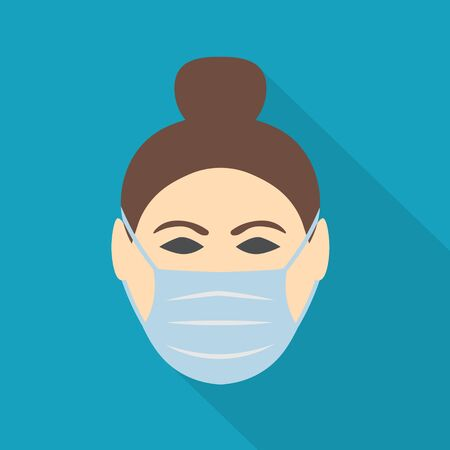 woman wearing face mask protecting from viruses- vector illustration